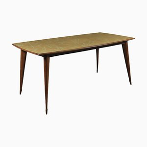 Table in Beech and Back-Treated Glass, Italy, 1950s