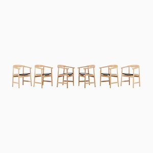 PP203 Chairs in Oak and Black Leather by Hans Wegner for PP Møbler, Set of 6