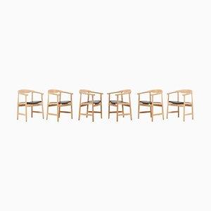 PP203 Stühle aus Eiche und schwarzem Leder von Hans Wegner für PP Møbler, 6er Set