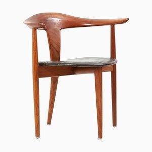 Chaise en Teck et Cuir par Erik Andersen & Palle Pedersen pour Randers, Danemark, 1960s