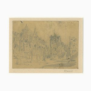 Louis Adolphe Mervi - Cityscape - Original Bleistift auf Papier von Louis Adolphe Mervi - 20. Jahrhundert