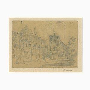 Louis Adolphe Mervi - Cityscape - Original Pencil on Paper by Louis Adolphe Mervi - 20th Century