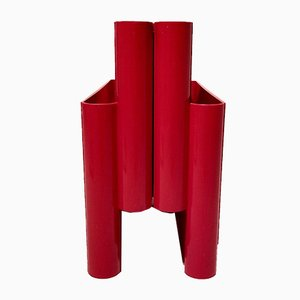 Red Kartell Magazine Rack by Giotto Stoppino, 1970s