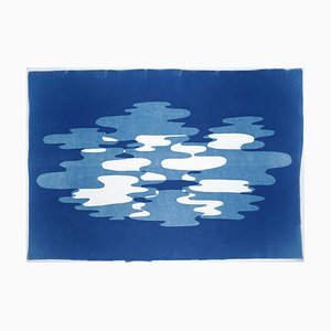 Hazy Blue Smoke, Artisan Cyanotype in Blue and White, Minimal Shapes on Paper 2019