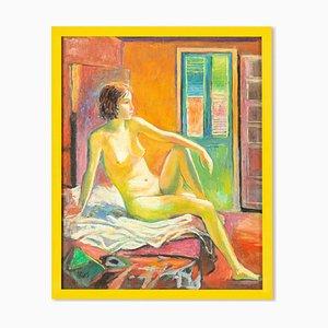 Expressionistischer Akt von Valentin Rusin, Acryl auf Holz