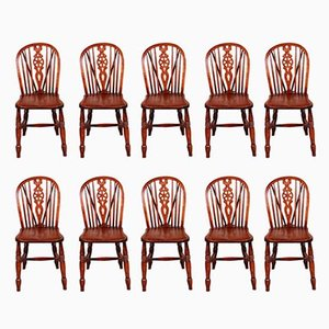 Antique Windsor Wheelback Dining Chairs, Set of 10