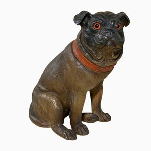 19th-Century Painted Terracotta Pug Dog