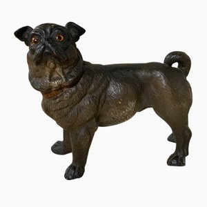 19th-Century Painted Terracotta Pug Dog