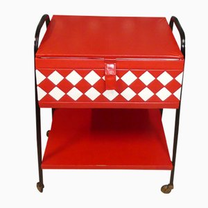 Vintage Red & White Sewing Box on Casters, 1970s
