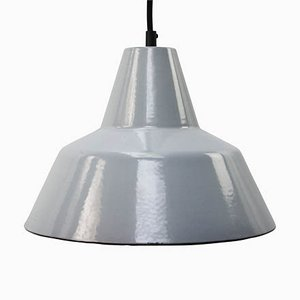 Mid-Century Vintage Industrial Grey Enamel Ceiling Lamp from Philips