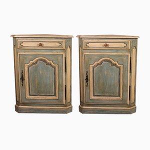 Antique Louis XV Polychrome Corner Cupboards in Oak, Set of 2