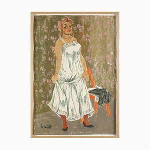 Franz Theodor Schütt, Standing Girl in Petticoat, Large Format Color Lithograph
