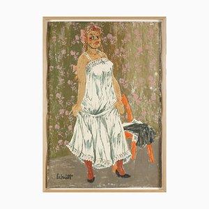 Litografia Franz Theodor Schütt, Standing Girl in sottoveste