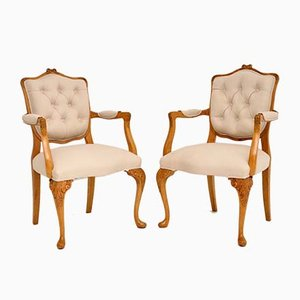 Antique Walnut Salon Armchairs, Set of 2