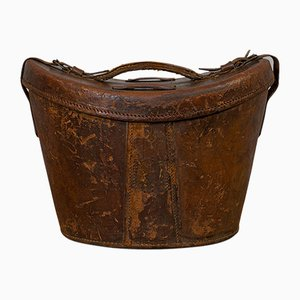 Antique English Leather Hat Box