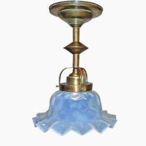 Antique Art Nouveau Brass Ceiling Lamp