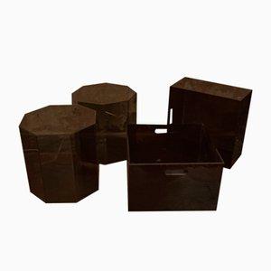 Contenitori e cesti in plexiglas, anni '70, set di 4