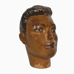 Antiker Art Deco Gips Mannequin Kopf, 1920er
