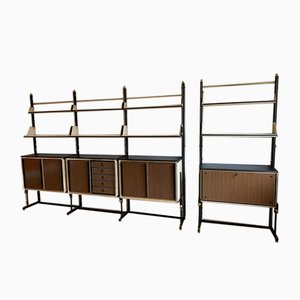 Set with Modular Bookcases & Bar by Umberto Mascagni, 1950s, Set of 3