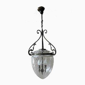 Italian Bronzed Brass & Glass Ceiling Lamp, 1940s