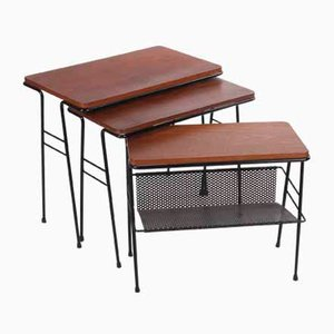 Nesting Tables with Magazine Rack by Cees Braakman for Pastoe, 1950s, Set of 3