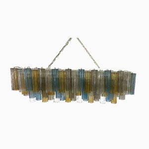 Italian Art Deco Murano Blue and Amber Glass Chandelier