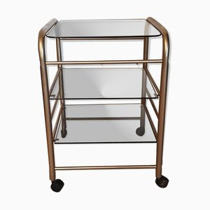 Mid-Century Italian Smoked Glass Table Trolley