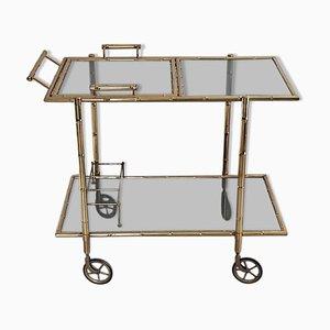 Vintage Italian Drinks Cart Trolley in Faux Bamboo