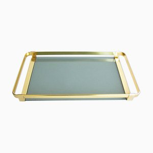 Vintage Italian Brass and Smoked Glass Serving Tray from MB Italy