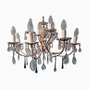 Lámpara de araña Shabby Chic italiana de cristal de dos niveles con gotas de cristal de Murano
