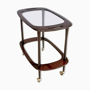 Mid-Century Italian Mahogany Bar Cart with Glass Serving Tray by Cesare Lacca, 1950s