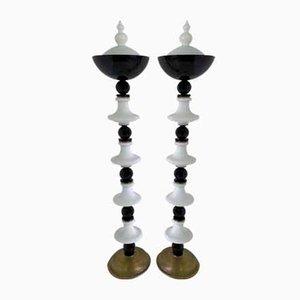 Lampade da terra in vetro di Murano bianco e nero, inizio XX secolo, set di 2