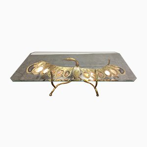 Illuminating Sculptural Bird Coffee Table in Agate and Brass in the Style of Duval Brasseur