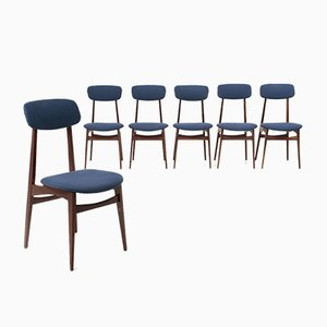 Wood & Blue Fabric Dining Chairs, 1960s, Set of 6