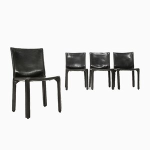 Model CAB Black Leather Dining Chairs by Mario Bellini for Cassina, 1970s, Set of 4