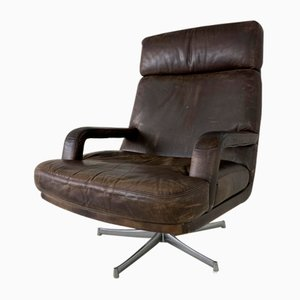 Vintage Leather and Steel Swivel Chair, 1970s