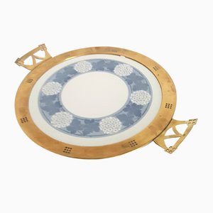Art Deco Cake Plate With Brass Handles from WMF, 1920s