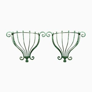 Half Moon Hammered Iron Brackets in the style of Edgar Brandt, 1950s, Set of 2