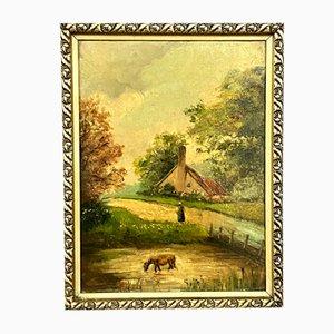 Paisaje animado de Woods, Barbizon School, siglo XIX, Oil On Panel