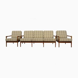 Mid-Century Cherrywood 3-Seater Sofa & 2 Armchairs by Wilhelm Knoll for Knoll Antimott, 1950s