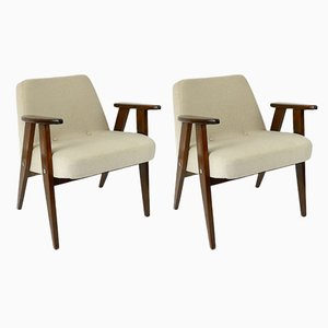 Vintage Beige Model 336 Armchairs by Józef Chierowski, 1960s, Set of 2