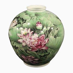 Grüne Porzellan Vase, 1940er