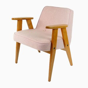 Vintage Model 366 Pink Wool Chair by Józef Chierowski, 1960s