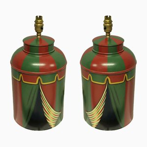 Hand-Painted Toleware Lamps, 1990s, Set of 2