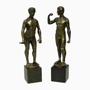 Spiro Collusive Mountain Male Nude Bronzes, Set of 2