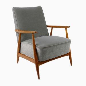 Vintage Lounge Armchair in Grey Velvet, 1960s