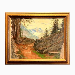 Henri Edouard Huguenin-Virchaux, View of the Alps from a Forest Trail, 1878-1958, Oil on Canvas