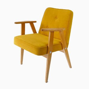 Vintage Lounge Armchair in Yellow Fabric, 1960s