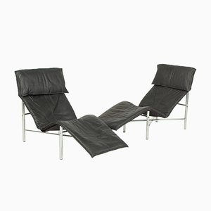 Chaise longue Skye en negro de Tord Björklund para IKEA, años 80. Juego de 2