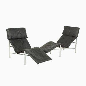 Schwarze Vintage Skye Liegestühle von Tord Björklund für IKEA, 1980er, 2er Set